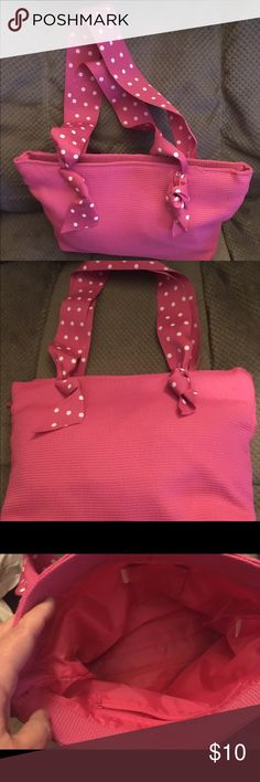 🔵  Pink bag with polka dot ribbon handles Such a sweet bag. Pretty bright pink with pink and white polka dot ribbon handles. Velcro closure, pockets on inside. Looks like new. Accessories Bags