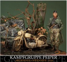 """Kampfgruppe Peiper - The Ardennes Offensive, December 1944"" by Marcin Skrzypek. TAMIYA 1/35 scale DKW NZ350. Figure from ALPINE. #vignette #diorama #motorcycle #WW2 #figure_model http://caramba-gallery.blogspot.jp/2009/04/kampfgruppe-peiper.html"