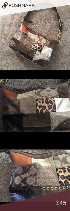 """Coach purse patchwork Coach purse.  Tiny flaws and a little dirty on the suede as shown in pictures. Super clean on the inside. 16""""Lx3.5""""Wx10.5""""H. Coach Bags Shoulder Bags"""
