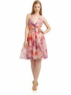 David Meister Floral Halter Dress