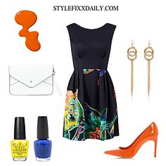 OUTFIT OF THE DAY: SCUBA FLOWER DRESS, ORANGE COURT SHOES & WHITE CLUTCH BAG