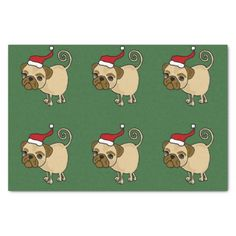 Funny Pug in Santa Hat Christmas Tissue Paper #pugs #dogs #Christmas #tissuepaper #funny And www.zazzle.com/petspower*