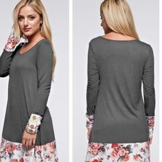 BEAUTIFUL DRESS/ TUNIC W/ FLORAL PRINT! Dress/ Tunic Has Floral Print & Button Accent on Sleeves! Tops
