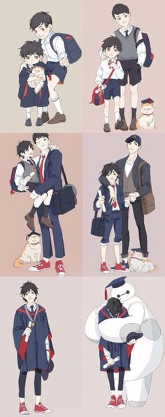 This is cute! Hiro and Tadashi growing up. Baymax is just precious.<<<I just love how Mochi usually wears the graduation cap except for the last in which Baymax wears it. Disney Pixar, Disney Marvel, Art Disney, Disney Memes, Disney And Dreamworks, Disney Animation, Disney Cartoons, Disney Magic, Hiro Big Hero 6