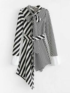 Maybe in two closer coordinated prints?too wild? Self Tie Asymmetrical Stripe Splicing Dress -SheIn(Sheinside) Pakistani Fashion Casual, Pakistani Dresses Casual, Pakistani Dress Design, Muslim Fashion, Designer Kurtis, Stylish Dresses, Casual Dresses For Women, Casual Skirts, Summer Dress Outfits