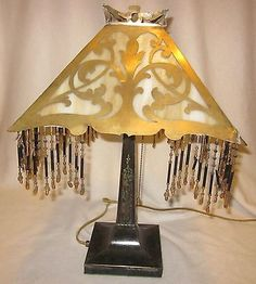 Antique #brass arts & #crafts table lamp w/ caramel slag #shade & beaded fringe,  View more on the LINK: http://www.zeppy.io/product/gb/2/222034823959/