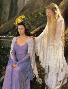Arwen & Galadriel - The Lord of the Rings (I don't recall this from the movies. The books mention that Elron's daughter, the Lady Arwen had been visiting Lothlorien, the land of her Grandmother(Galadriel) but no further detail is given). Legolas, Gandalf, Jrr Tolkien, Fellowship Of The Ring, Lord Of The Rings, Das Silmarillion, O Hobbit, Between Two Worlds, Into The West