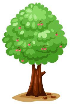 Illustration Isolated Cherry Tree On White stockillustratie 60348787 Autumn Nature, Nature Tree, Tree Clipart, Summer Trees, Pics Art, Collage Design, Tree Patterns, Nature Crafts, Tree Art