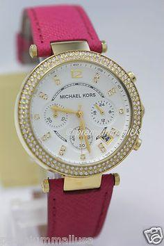 Michael Kors Parker women watch MK2297 pink saffiano gold tone 39mm chrono NEW - http://mostbidded.com/ads/michael-kors-parker-women-watch-mk2297-pink-saffiano-gold-tone-39mm-chrono-new