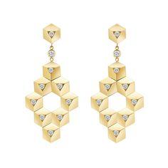 "Paolo Costagli Large ""Brillante"" 18k Gold & Diamond Drop Earrings"