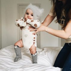 """""""Delicious thighs and soft knits , definitely on my list of favourites Kitty cap and romper @meriloubaby"""""""