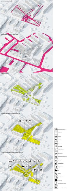 MAPEO AUTOS, Circulacion peatonal, areas verdes, actividades. Square redevelopment in Kuznia Raciborska on Behance