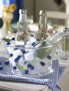 Dice to add interest to ice bucket...great for bunco or a game night party.