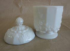 Milk Glass Sugar Bowl with Lid.   via Etsy.