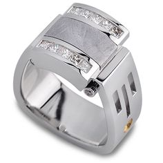 For the man out of this world. Meteorite & Diamonds set in 18K White Gold.