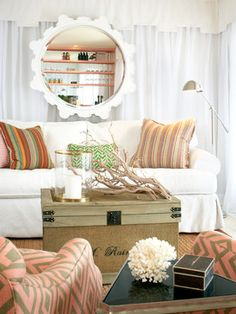 Family room decorating. love the colors and the coastal feel!