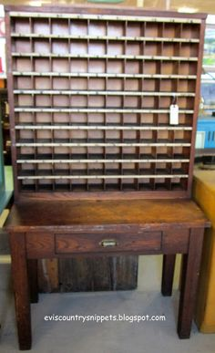 Antique Post Office Mail holder wood storage box Old Numbers $170 ...