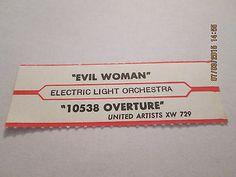 ELO - Evil Woman / 15038 Overture Orig 1975 UA jukebox strip
