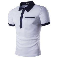 Polo Shirt Men Polo Homme 2017 Patchwork Single Breasted Mens Polo Shirt Short Sleeve Turn Down Collar Slim Fit Camisas Polo XXL Polo Shirts With Pockets, Slim Fit Polo Shirts, Black Polo Shirt, Casual Shirts For Men, Men Casual, Denim Fashion, Fashion Men, Autumn Fashion, Business Casual
