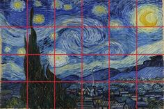 """I looked for hours to find a lesson on Vincent van Gogh's Starry Night using the grid method.  I was able to find """"coloring activity"""" murals in many locations, but nothing that taught students how to actually draw a part of this masterpiece!  So I decided to make one myself.I started by dividing the original work into 24 even pieces, because most classes have about 24 students."""