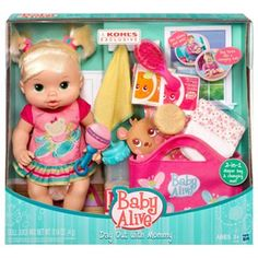 Baby Alive A Day Out with Mommy Caucasian Includes Diper Bag, Dipers, Bottle, food and Brush Muñeca Baby Alive, Baby Alive Dolls, Baby Doll Toys, Baby Doll Clothes, Toddler Toys, Toddler Stuff, Bitty Baby, Baby Life, Diper Bags