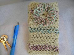 Crochet Mobile phone case sleeve in cream by LunaEncantadaDesigns