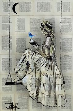 Flowing Hope by Loui Jover: Ink drawings and acrylic paint on old book pages Beautiful Drawings, Beautiful Paintings, Contemporary Art Artists, Hope Art, Paris Poster, Upcoming Artists, Buy Art Online, Paper Artist, Cool Artwork