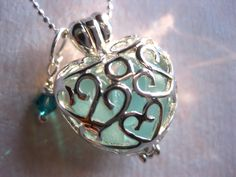 Seaglass Heart Locket and SS chain by SAMISEAGLASS on Etsy, $19.00