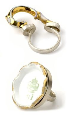 Tea, deconstructed. Rings by ANNIE BANIAN-UK.  (Porcelain fragments, gold, silver.)