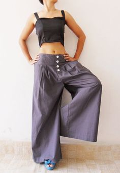 """Wide Leg Long  Pants in Gray by thaichaiangraicotton on Etsy. Just bought em in """"soft"""" finish."""