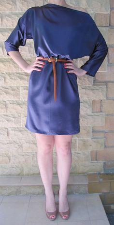 Dress Silk New  Dark blue Russia Moscow Handmade от LLiaMoscow, $199.00