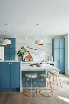 Sarah Off The Grid 2 Kitchen Blue Kitchen Cabinets, Kitchen Cabinet Colors, Kitchen Shelves, Kitchen Colors, Kitchen Layout, Kitchen Island, Open Plan Kitchen Living Room, Kitchen Redo, Kitchen Remodel