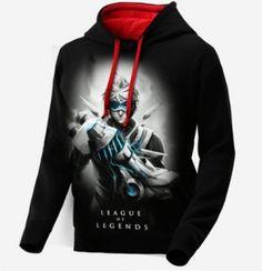 Ezreal League of Legends capuz preto para os homens de manga longa LOL EZ camisola