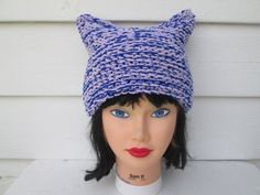 Hand Knit Cat Hat Womens Hat Womens cat hat cat ear hat knitted animal hat Cat Beanie Hat inspired by Anna Sui Owl-Chunky Knit Fall Fashion