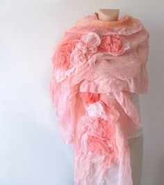 Nuno felted scarf ruffle  coral Rose flower Apricot by galafilc, $125.00