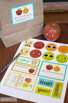 Printable Kids Lunch Stickers