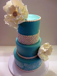 Tiffany Blue with Bling Flowers Cake