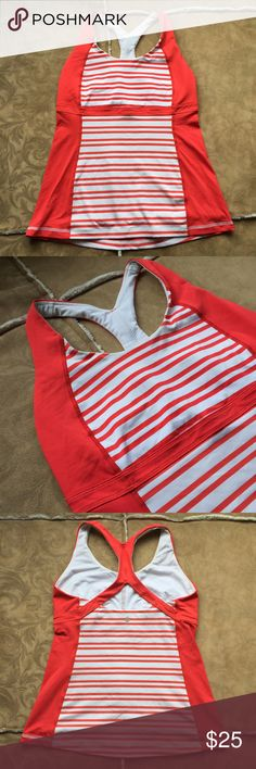 Lululemon Athetica tank top Sport lululemon blouse with braw support // euc 8/10 // no rips or stains  // size 10 // red with white stripes lululemon athletica Tops Tank Tops