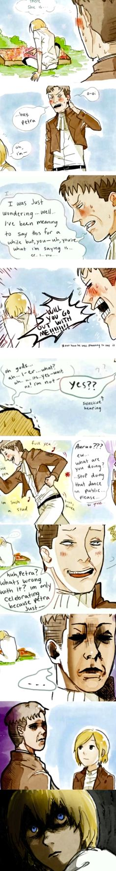 Auruo confesses his love and asks out Petra to Armin << XD IM LAUGHING SO HARD RN