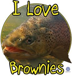 A funny fishing t shirt at: http://www.captntom.com/fishing-t-shirt-boatique/shop/3121-brown-trout-t-shirt-i-love-brownies/ - You'll find over 200 cool fishing, boating, hunting, funny and other t shirts here. Click image to comment on this design. Please Repin. #Captntom #FunnyFishing #Fishing #Shirt