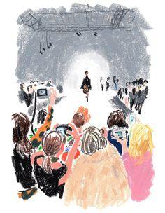 The illustrator Damien Florébert Cuypers draws the models, designers, buyers and… Illustration Au Crayon, Illustration Sketches, Illustrations And Posters, Winter Illustration, Crayon Drawings, Crayon Art, Art Drawings, The Draw, Pastel Art