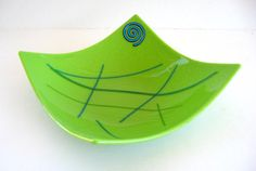 LIME GREEN BLUE Spiral Fused Aqua Art Glass by DawnofCreationArt, $26.00