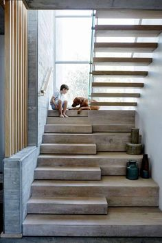 These days, a concrete staircase is really famous for a modern house. The design of staircase with its concrete material is simple and easy to make. It is another option for you who want to design you Home Stairs Design, Door Design, Exterior Design, House Design, Concrete Staircase, Wooden Staircases, Wood Stairs, Stairs Window, Contemporary Stairs