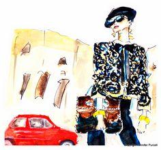 campagna pubblicitaria di Moschino per la primavera estate 2012: Colosseo, a Roma. Sulla strada, invece, è immortalata una vecchia 500 modello storico che la Fiat ha rieditato con successo di recente. Il cuore di questa adv romana è senza dubbio il look Moschino: ricercato nei capi - complice il contrasto oro-nero - come negli accessori. -