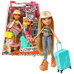 MGA Year 2015 Bratz Study Aborad Series 10 Inch Doll Set - RAYA to Mexico with 2 Outfits, Cactus Pot, Suitcase, Earrings, Purse Charm and Hairbrush