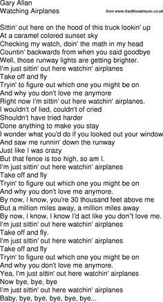 Gary Allan - Watching Airplanes Lyrics | MetroLyrics