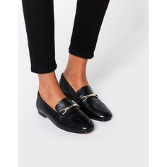 ASOS MOVEMENT Leather Loafers ($57) ❤ liked on Polyvore featuring shoes, loafers, black, slip-on shoes, leather flats, leather loafers, black slip on shoes and flat shoes
