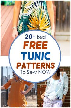 A huge collection of free tunic patterns to sew, for all styles and all sewing skills: beginner to advanced. Here you'll find a lot of womens tunic patterns, including tunic patterns with long or short sleeves, flutter sleeved tunics, swing tunic tops, sleeveless tunic dress patterns and tunic tops for all seasons. Check out all the free womens tunic patterns and choose your favorite. #tunicpatterns #freesewingpatterns #womenstunics #tunic Pattern Drafting Tutorials, Easy Sewing Patterns, Easy Sewing Projects, Sewing Tutorials, Tunic Dress Patterns, Tunic Pattern, Baby Sewing, Free Sewing, Tunic Tutorial