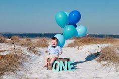 First birthday picture on the beach. #photos #props #beach #firstbirthday