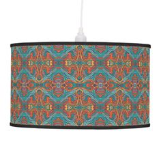 Abstract colorful hand drawn curly pattern design ceiling lamp